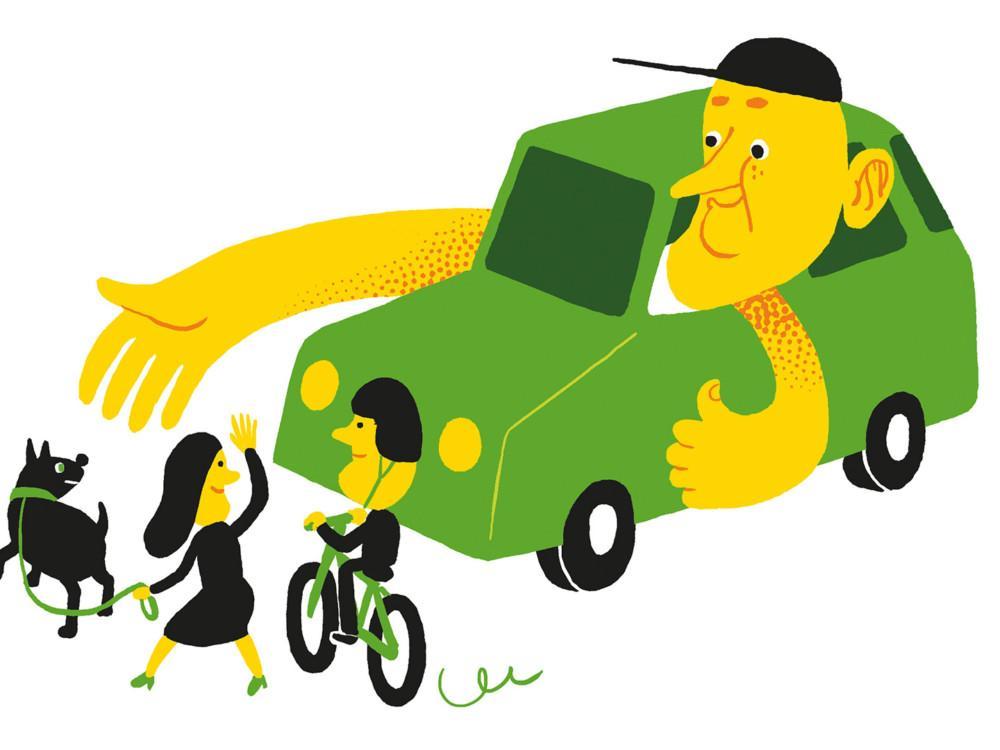Kuvassa autoilija antaa tietä suojatiellä.
