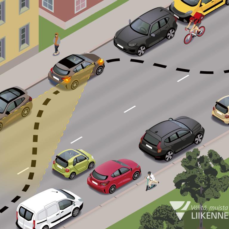 Pysäköinti tien toiselle laidalle uuden lain mukaan.