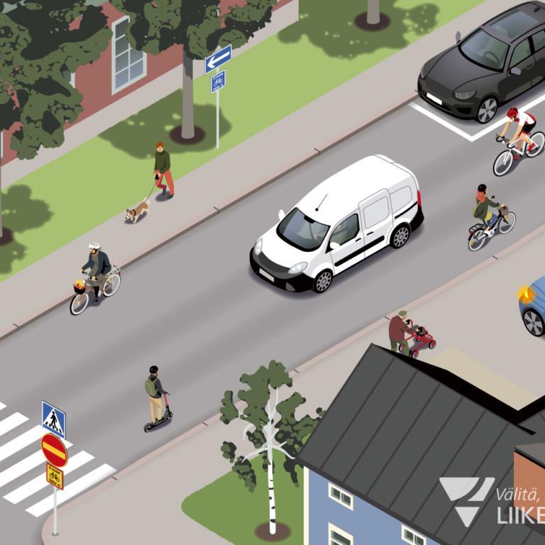 Kuvassa yksisuuntaisella tiellä pyöräilläään kahteen suuntaan..