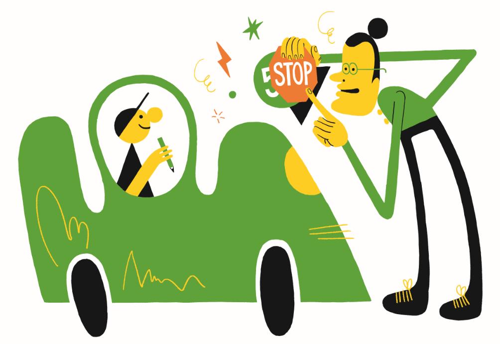 Kuvituskuvassa liikenneopettaja opettaa nuorta.